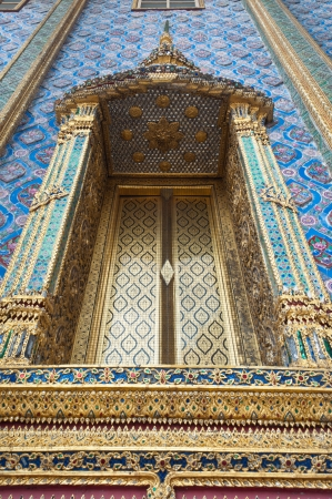 Traditional Thai style Window  at Phra Kaew temple in Bangkok Thailand ,ancient, antique, architecture, Public Art photo