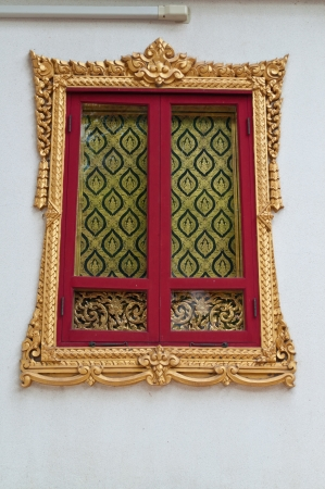 Traditional Thai style Window  on saket temple Bangkok Thailand ,ancient, antique, architecture,Public Art photo