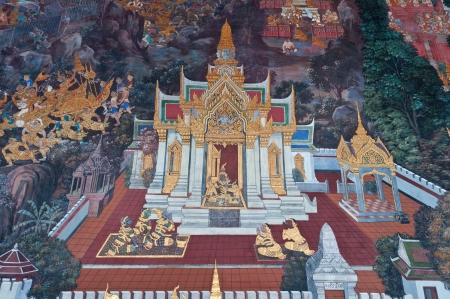 Thai mural art , Wall in  Phra Kaew temple in Bangkok Thailand, Public Art Painting