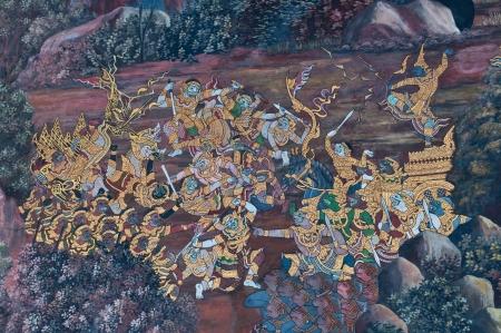 Thai mural art , Wall in  Phra Kaew temple in Bangkok Thailand, Public Art Painting photo