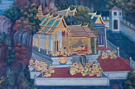 Thai mural art , Wall in  Phra Kaew temple in Bangkok Thailand, Public Art Painting photo