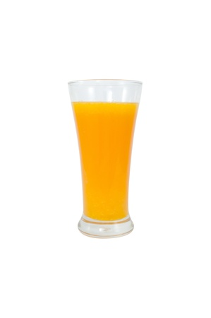 Orange juice in a glass,isolated on white background. Stock Photo