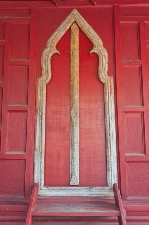 Door in wat yai suwannaram (temple) thailand, Public art. photo