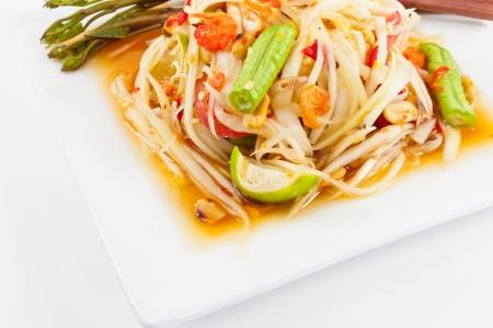 Thai papaya salad or Som Tum (traditional and modern thai food) Stock Photo - 14806547