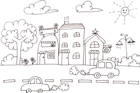 Hand drawing city, house, car and tree cartoon of dreams. Lovely card, postcard (White and brown)
