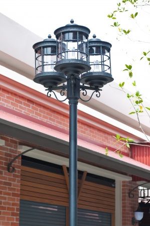 public domain: An old street vintage lamp. Black color. Public domain.