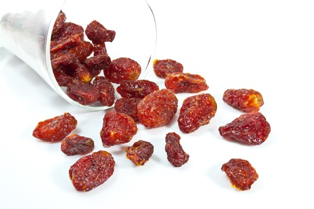 Italian sun dried tomatoes on white background.