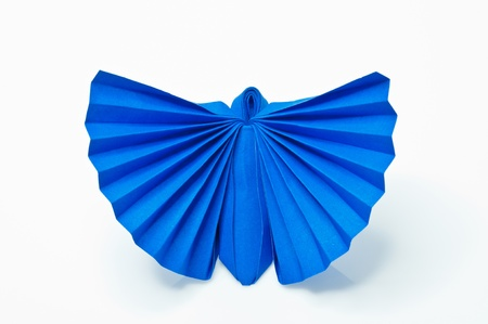 Origami Japanese paper butterflies on white background. photo