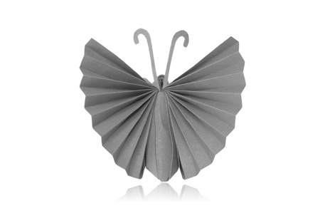 The Origami Japanese paper butterflies on white background