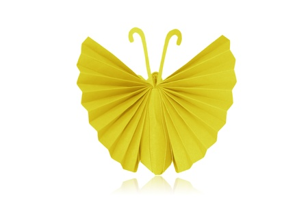 The Origami Japanese paper butterflies on white background  photo