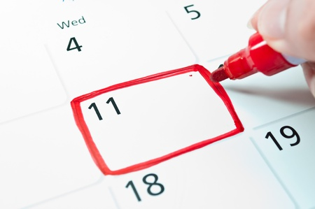 Red square  Mark on the calendar at 11