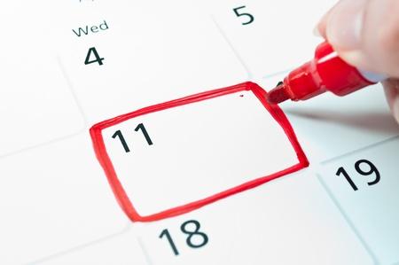 Red square  Mark on the calendar at 11 Banco de Imagens - 15130291