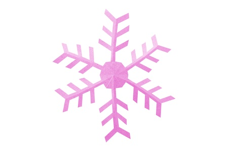 Snowflake paper isolated on a white background, Origami. Stock Photo