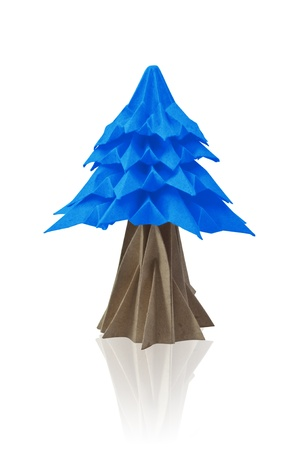 Christmas trees paper isolated on a white background, Origami.