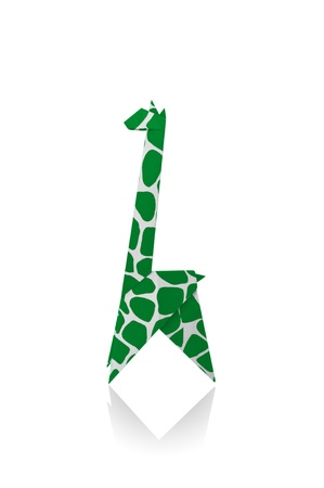 Giraffe paper isolated on a white background, Origami.