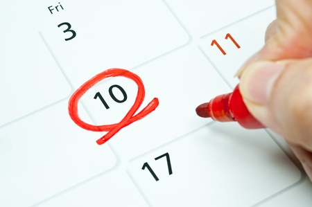 Red color  Mark on the calendar at 10