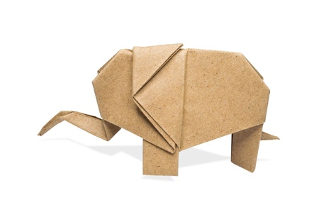 origami elephant recycle paper on a white background, Stock Photo