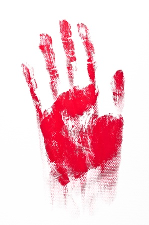 Red Spooky hand print isolated on white background photo