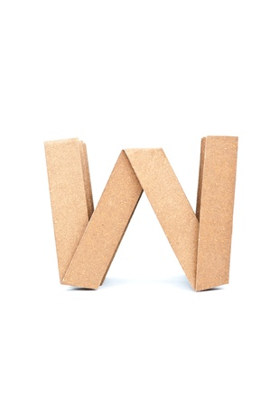W-Origami alphabet letters recycled paper craft fold. photo