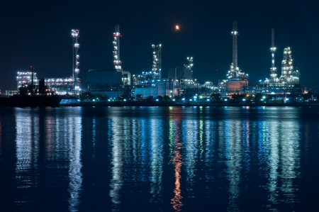 Oil refinery at night,Chao Phraya river, Bangkok Thailand