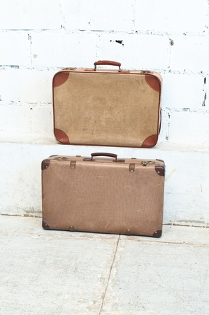 Brown antique Luggage vintage style.Retro and classic photo