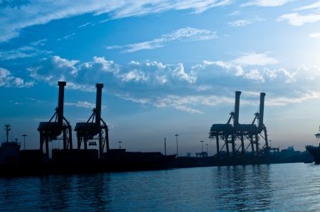 Shipping port at Chao Phraya river, Bangkok Thailand Stock Photo