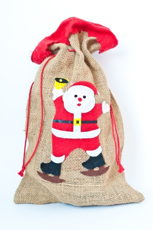 Santa claus gift Bag Brown on white background. photo