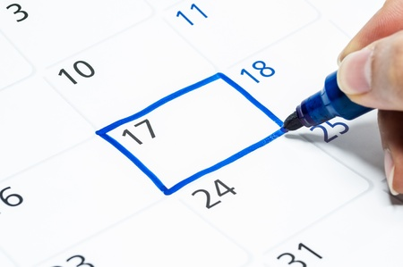 Blue color. Mark on the calendar at 17. Stock Photo - 17747968