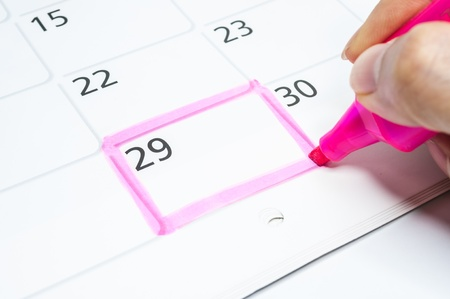 meeting agenda: Pink color. Mark on the calendar at 29.
