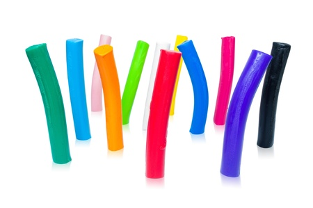 vertical bars: Colorful plasticine. Vertical bars on a white background.