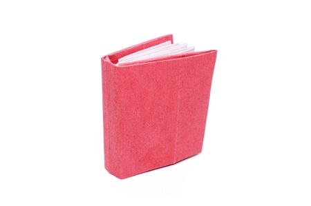Red book on a white background. Paper craft and origami. photo