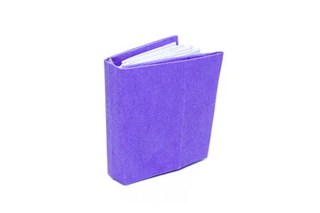 Purple book on a white background. Paper craft and origami. photo