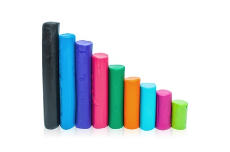 Colorful plasticine. Vertical bar chart on a white background. photo