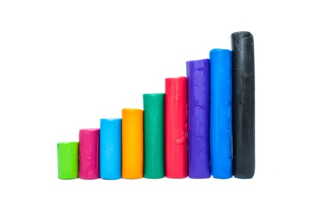 vertical bar: Colorful plasticine. Vertical bar chart on a white background.