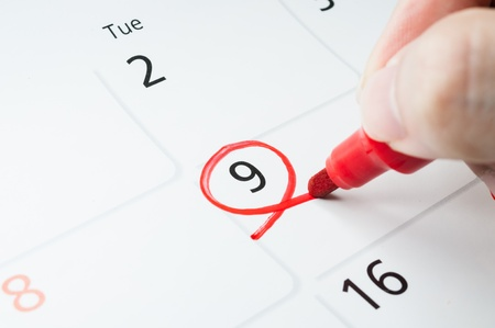 Red circle. Mark on the calendar at 9.