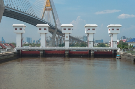 Bridge across the Chao Phraya River, Bangkok, Thailand.