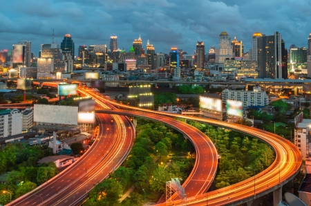 Bangkok Expressway and Highway top view, Thailand Stock Photo