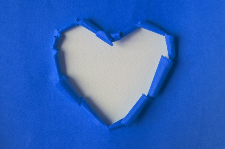 Recycled Paper Blue Torn Heart Paper Crafts Stock Photo Picture