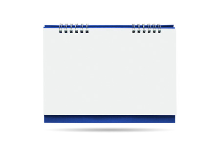 Calendar is blank, white, blue isolated on white background. Stock Photo