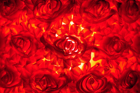 Fabric roses with red lights in the rear for background. photo