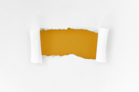 White paper torn square shape beautiful. Beautiful yellow background photo