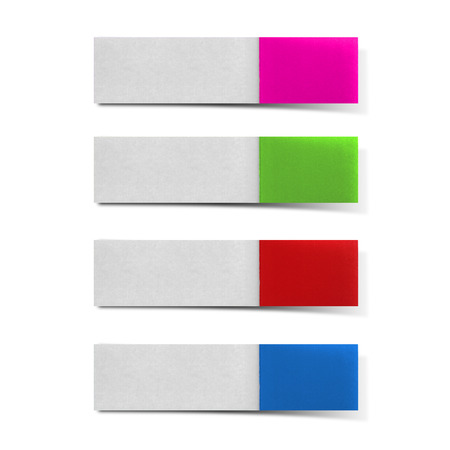 Postit pink, green, red, blue on white background.