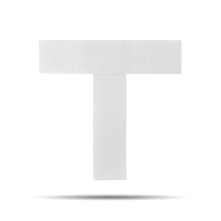 White Paper alphabet   T  on a white background with clipping paths. photo