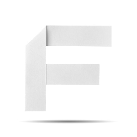 White Paper alphabet   F  on a white background with clipping paths. photo