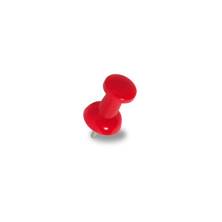Red pins on a white background with clipping paths. photo