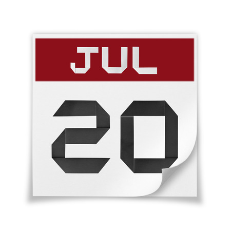 Calendar of July 20, on a white background.