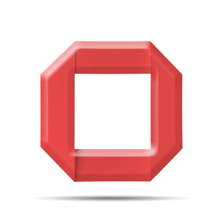 Red Paper alphabet   O  on a white background with clipping paths. photo