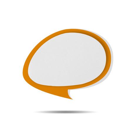 Paper Speech Bubble orange on white background photo