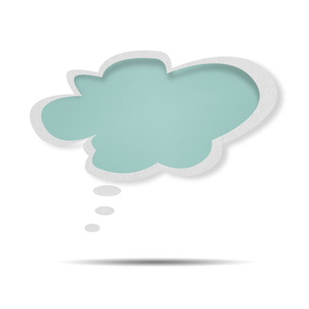 Paper Speech Bubble green on white background photo