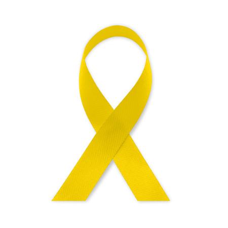 Yellow ribbon Bone cancer awareness on white background.